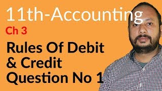 I.Com Part 1 Accounting,ch 3,lec 2,Qu 1,Rules of Debit & Credit-Inter part 1 Accounting Chapter 3