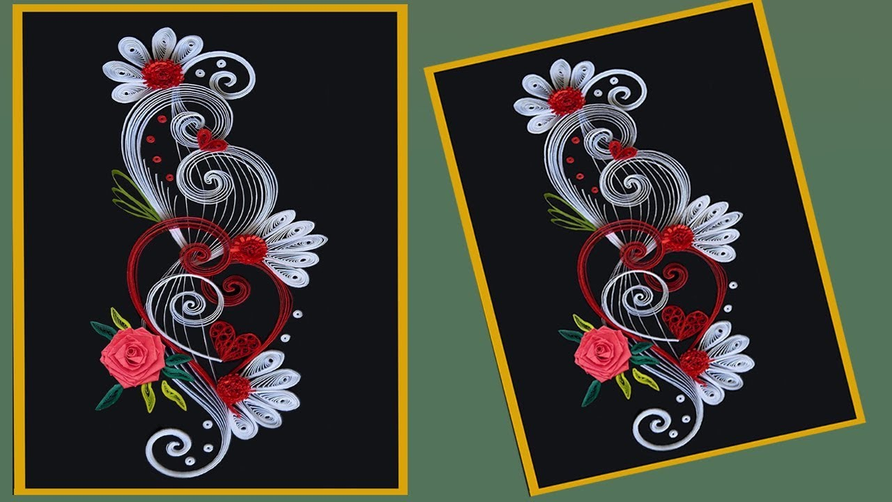 How to make beautiful quilling flower design greeting card paper youtube premium m4hsunfo