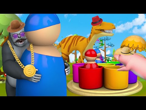 Cute Funny Animals Play Pop Toy Amusement Park Games in Forest | Animals Cartoons Comedy Video