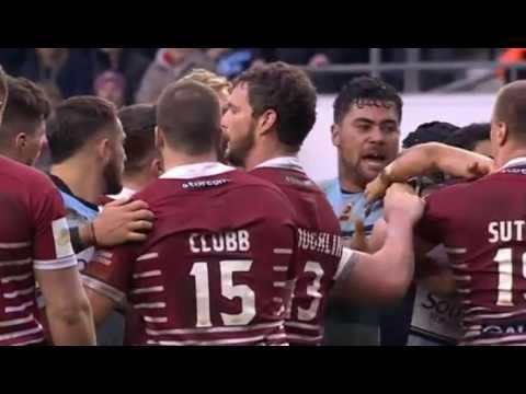 Andrew Fifita launches a punch into a team-wide scuff. [Wigan vs Cronulla '17]