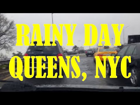 Driving in the Rain in Queens, New York City