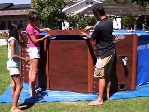 habillage piscine tubulaire sequoia intex youtube. Black Bedroom Furniture Sets. Home Design Ideas