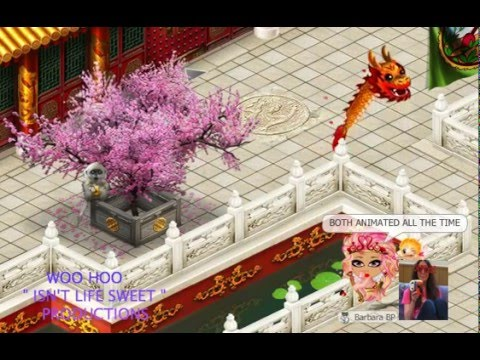 YOWORLD - CHINESE NEW YEAR DANCING DRAGON AND CHERRY BLOSSOM TREE