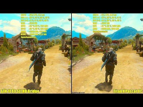 Titan X Pascal Overclocked Vs GTX 1080 SLI Stock 4K The Witcher 3 Frame Rate Comparison