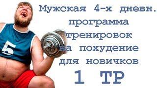 Мужская 4 х дневная программа тренировок на похудение для новичков (1 тр)