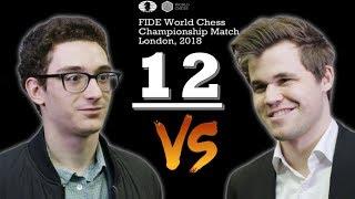 Ceonato del Mundo de Ajedrez 2018 Caruana vs Carlsen partida 12