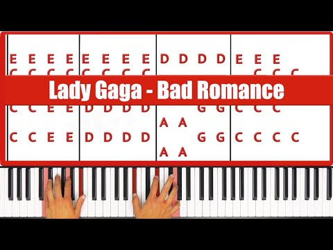 Bad Romance Lady Gaga Piano Tutorial - EASY