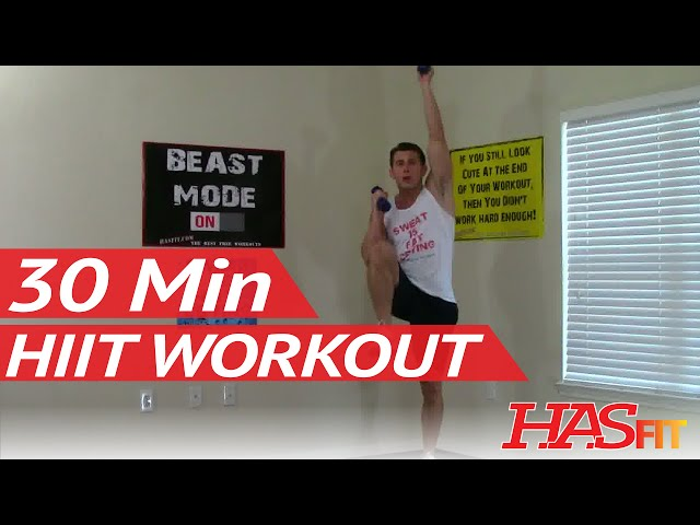 30 Minute HIIT Workout - HASfit High Intensity Interval Training Workout - HIT Training Exercises Travel Video