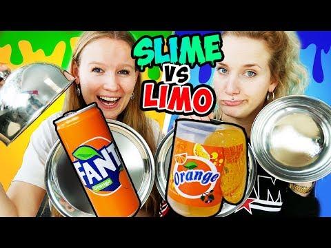 SLIME VS LIMO Challenge - Glibber in Dosen gegen echte Getränke NINA VS KATHI Wer kriegt was?