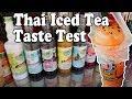 Thai Iced Tea Vendors. Street Food Drinks in Thailand Taste Test.