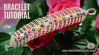 Repeat youtube video Macramé Herringbone Bracelet Tutorial by Macrame School