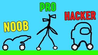 AMONG US & SIREN HEAD in Car Drawing Game NOOB vs PRO vs HACKER