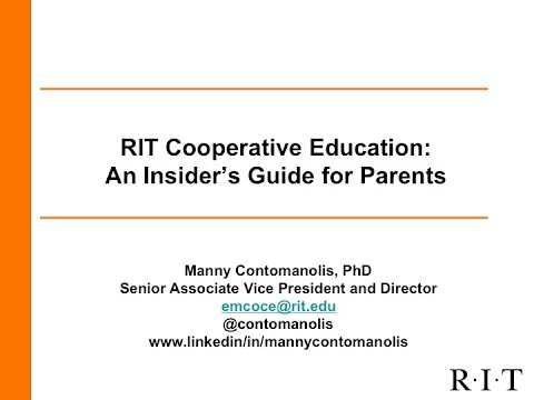 Cooperative Education at RIT: An Insider's Guide for Parents