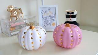 DIY Fall Room Decor - Dollar Store Studded Pumpkins Thumbnail