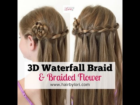 3D Waterfall Braid and Braided Flower Hairstyle