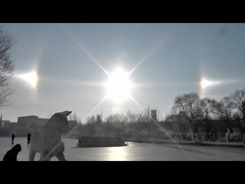 Rare Sun Dogs Shine in the Sky in China