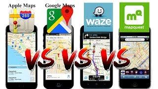Waze vs Google Maps vs Apple Maps vs Mapquest! Free HD Video