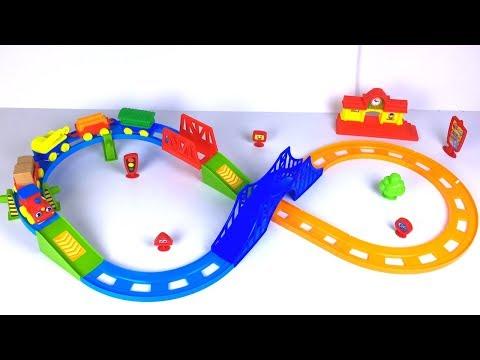 KID CONNECTION PRESCHOOL TRAIN PLAY SET WITH ENGINE TUNNEL BRIDGE CRANE WAGON & STATION - UNBOXING