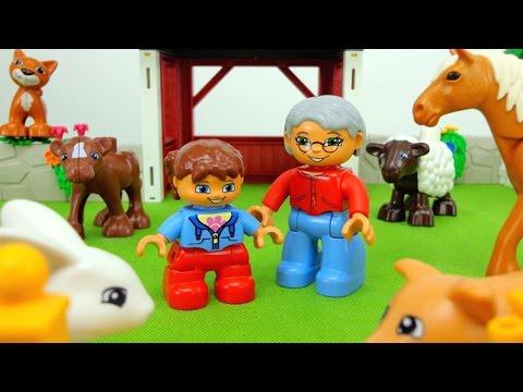 Видео для детей. Играем в Лего. Lego duplo - на ферме у дедушки.