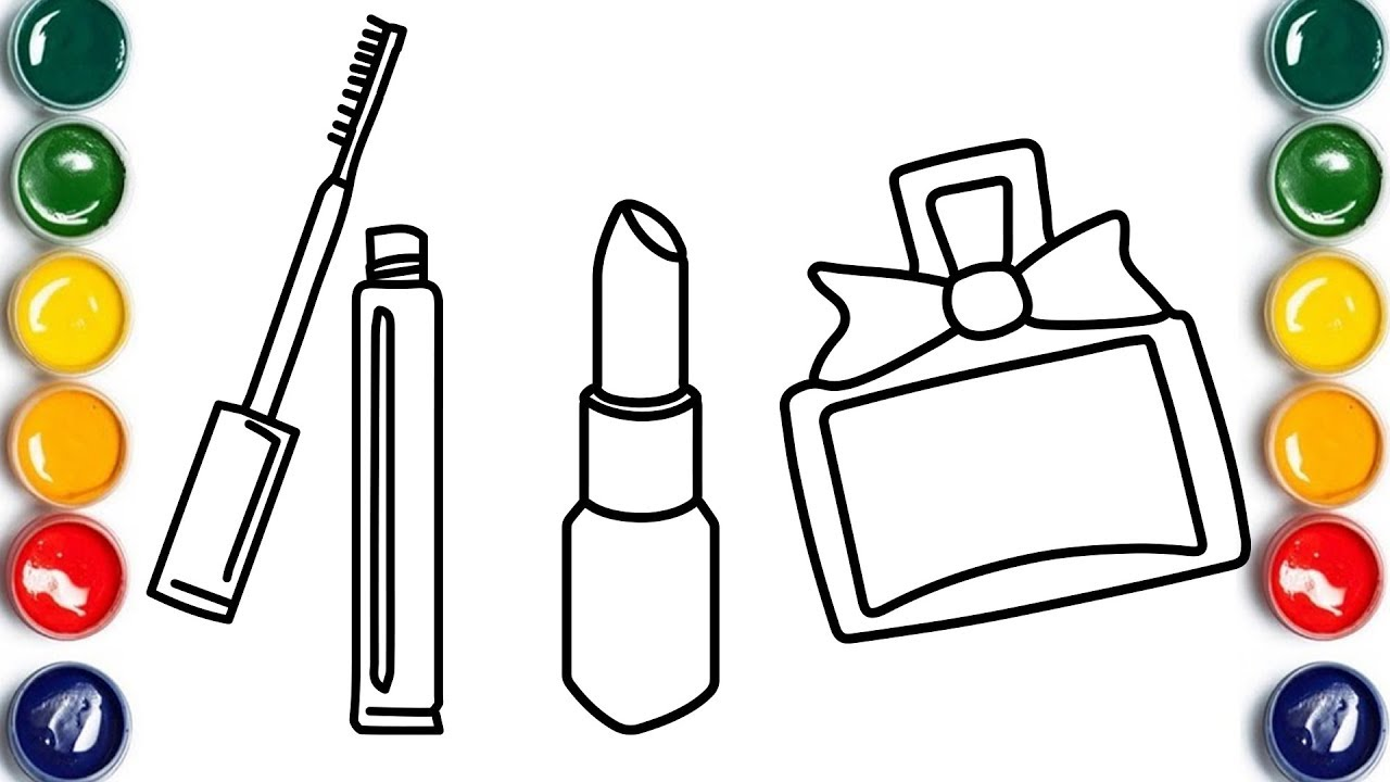 How To Draw Lipstick Coloring Book For Kids Drawing Makeup For Children