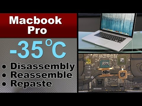 MacBook Pro A1398 Disassemble, Thermal Repaste Grizzly Liquid Metal, TEMPERATURE FIX