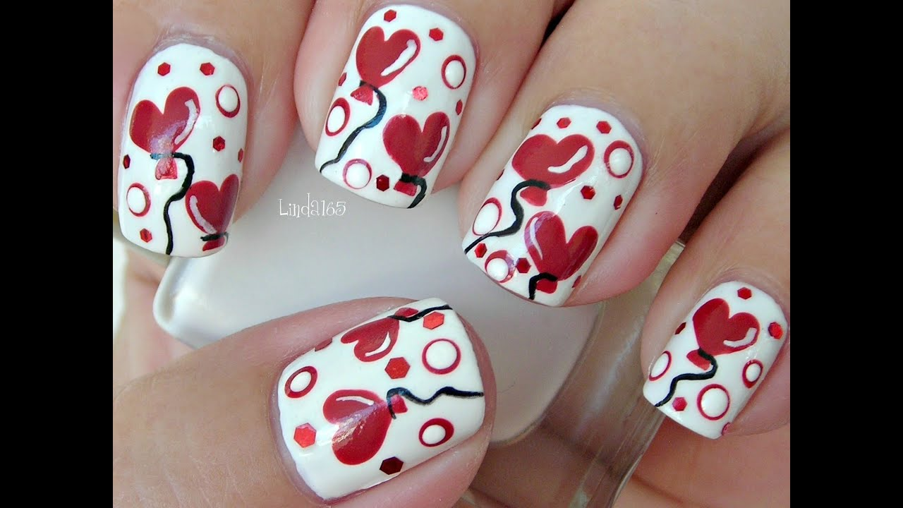 Nail art sweet valentine collaboration heart balloons youtube prinsesfo Choice Image
