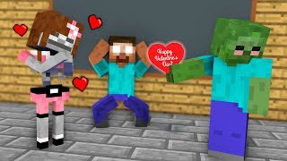 Monster School : Drawing A Valentines GIRLS Challenge - Minecraft Animation