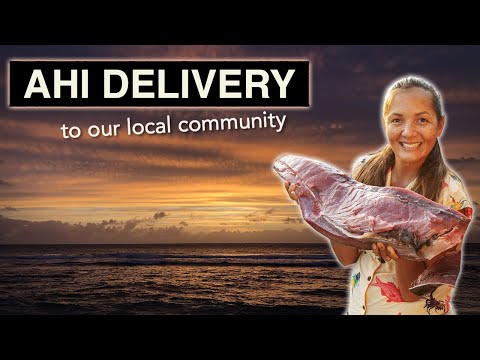 Sharing Fish And Aloha Spirit In Hawai'i. Giving Away Prime Cuts Of Ahi To Our Local Community.