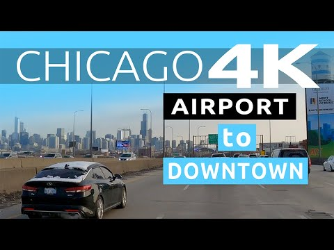 Driving from Chicago's O'Hare Airport to Downtown Chicago on Kennedy Expressway