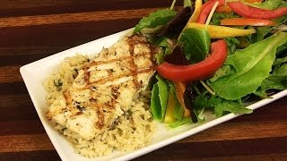 Grilled Halibut & Brown Basmati Herb Rice |the Lighter Side