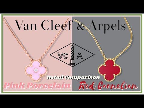 Van Cleef & Arpels Pink Porcelain HOLIDAY PENDANT vs. VINTAGE ALHAMBRA Necklace   My First Luxury
