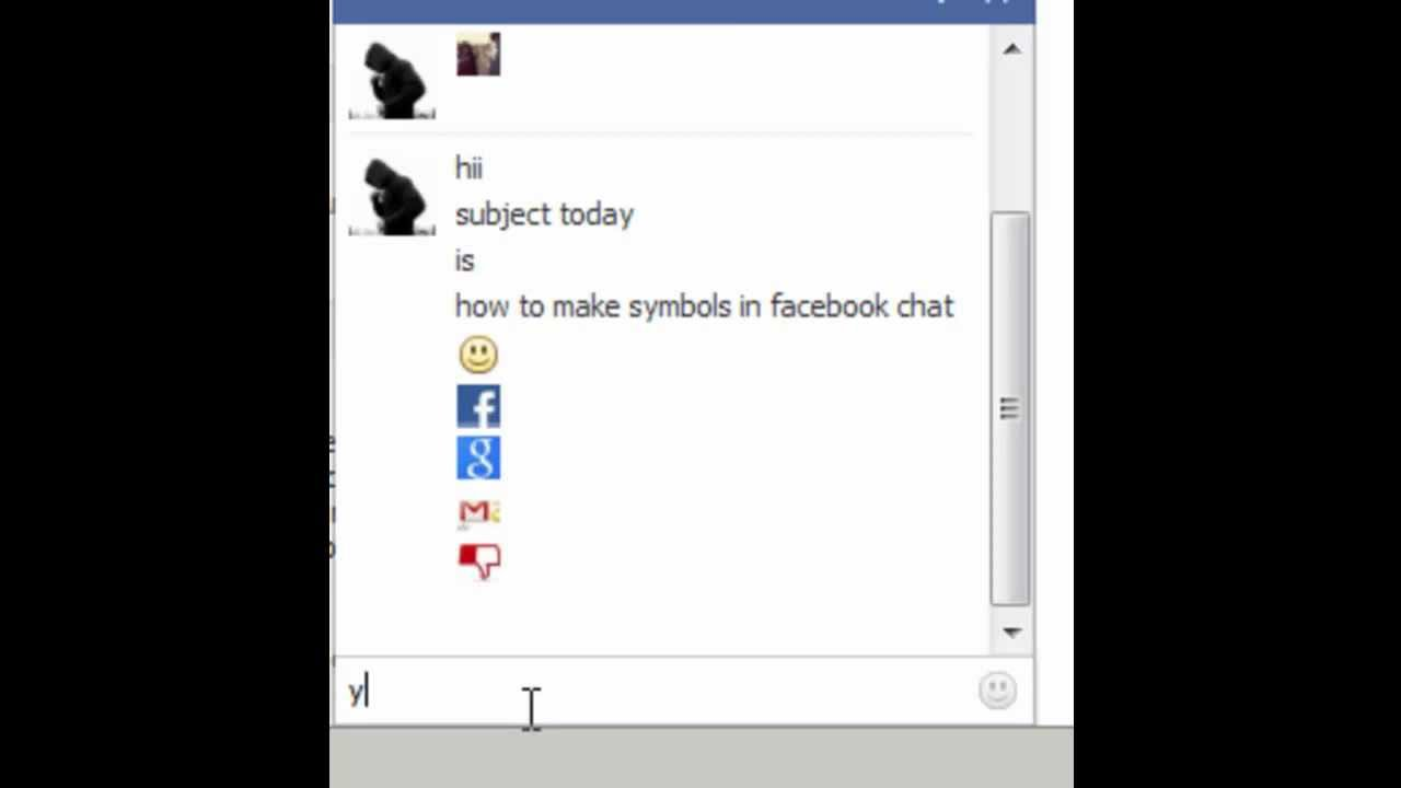 How To Make Symbols In Facebook Chat Youtube