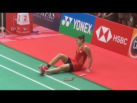 Detik-Detik Carolina Marin Retired di Final Daihatsu Indonesia Masters 2019 Saat Lawan Saina Nehwal