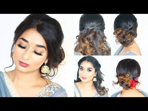 TOP 5 LAZY HAIRSTYLES For Festival Wedding Season  QUICK & EASY  Medium HAIR || Indian Hairstyle