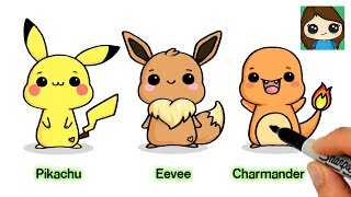 How to Draw Chibi EASY Pokemon #1 | Pikachu  Eevee  Charmander