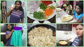 #DIML Egg Fried Rice Making at Amma Style/#Mirror Work Designer Lehanga Choli/#VLCC Cleansing Milk
