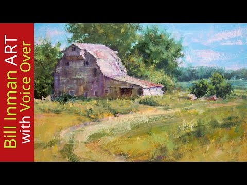 Paint a Barn - How to Paint an Old Barn, Fields and Trees - Fast Motion w/Voice Instruction