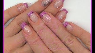 Nail art french rosa, glitter, paillettes, decori con foil e strass(ricostruzione e smalti)