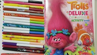 Trolls movie Poppy coloring & crayola colored pencils  Trolls movie characters color by number page