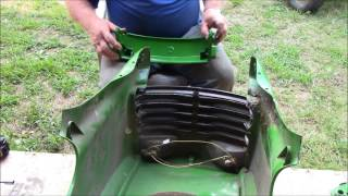 Installing bumper and hood on John Deere lawn tractor