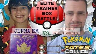 Jenna Em VS The Pokemon Evolutionaries! Pokemon Fates Collide Elite Trainer Box Battle!
