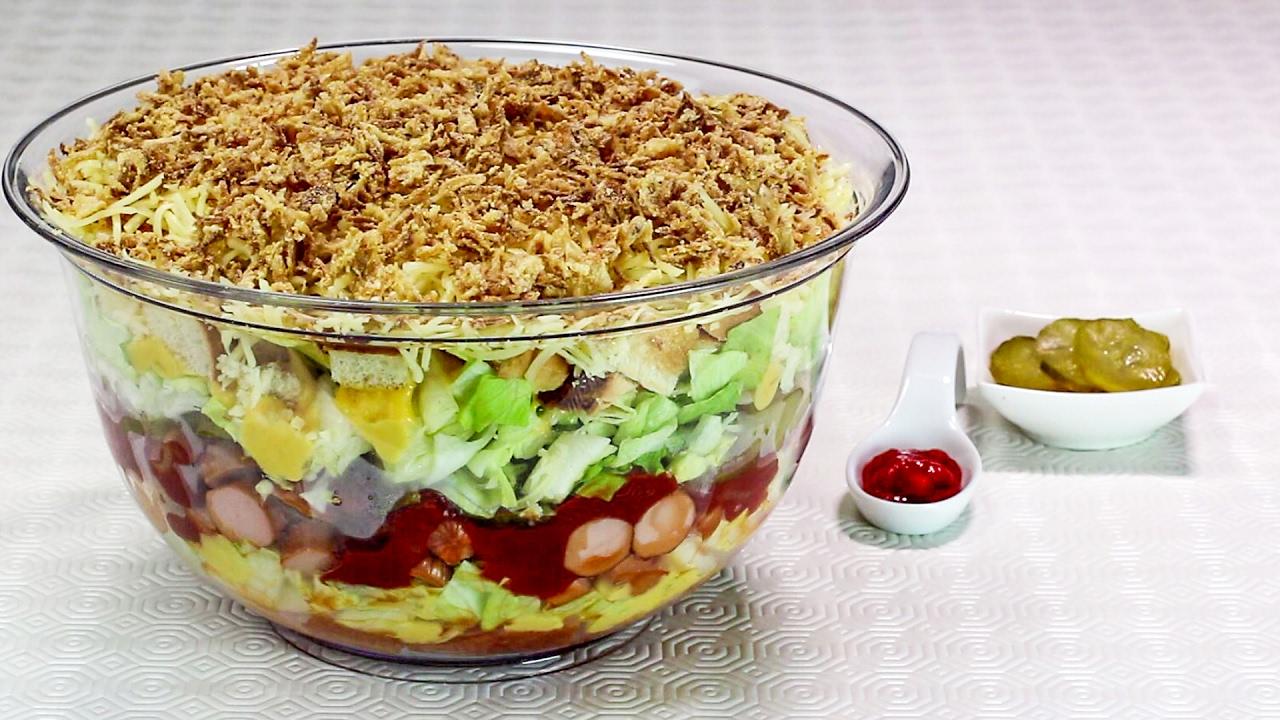 hot dog salat rezept f r party und brunch youtube. Black Bedroom Furniture Sets. Home Design Ideas