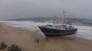 Fishing boat Capt Gavin runs aground in Point Pleasant Beach, NJ