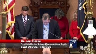 Sen. Hildenbrand welcomes Dr. Joel Beeke for Senate invocation