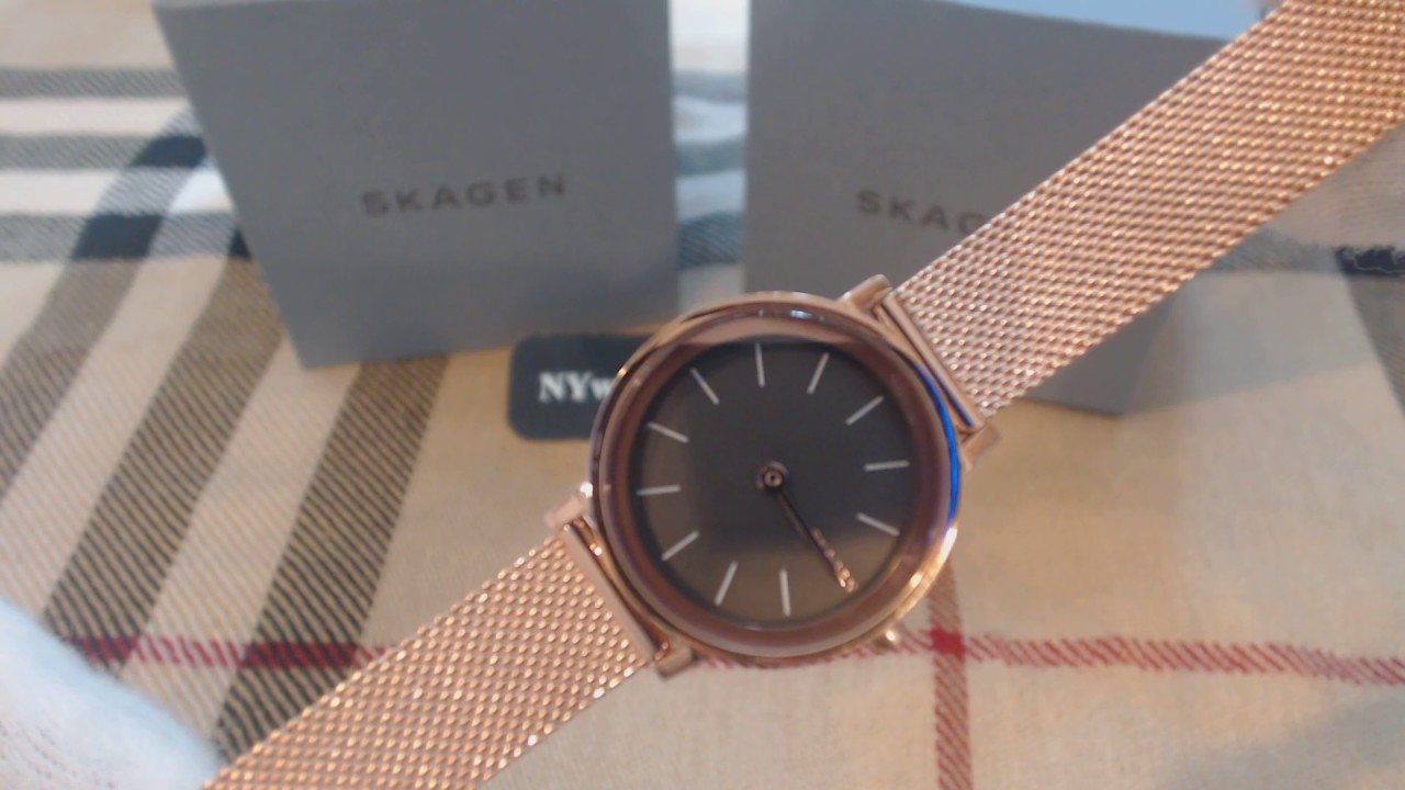 1fa071ebc8fa Skagen Hald Rose Gold Mesh Band Womens Watch SKW2470 - YouTube