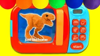 Learn Colors with Dinosaur Magic Microwave Surprise Toys and Nursery Rhymes for Kids