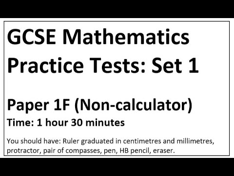 Edexcel GCSE Maths Practice Paper Foundation Set 1 Paper 1
