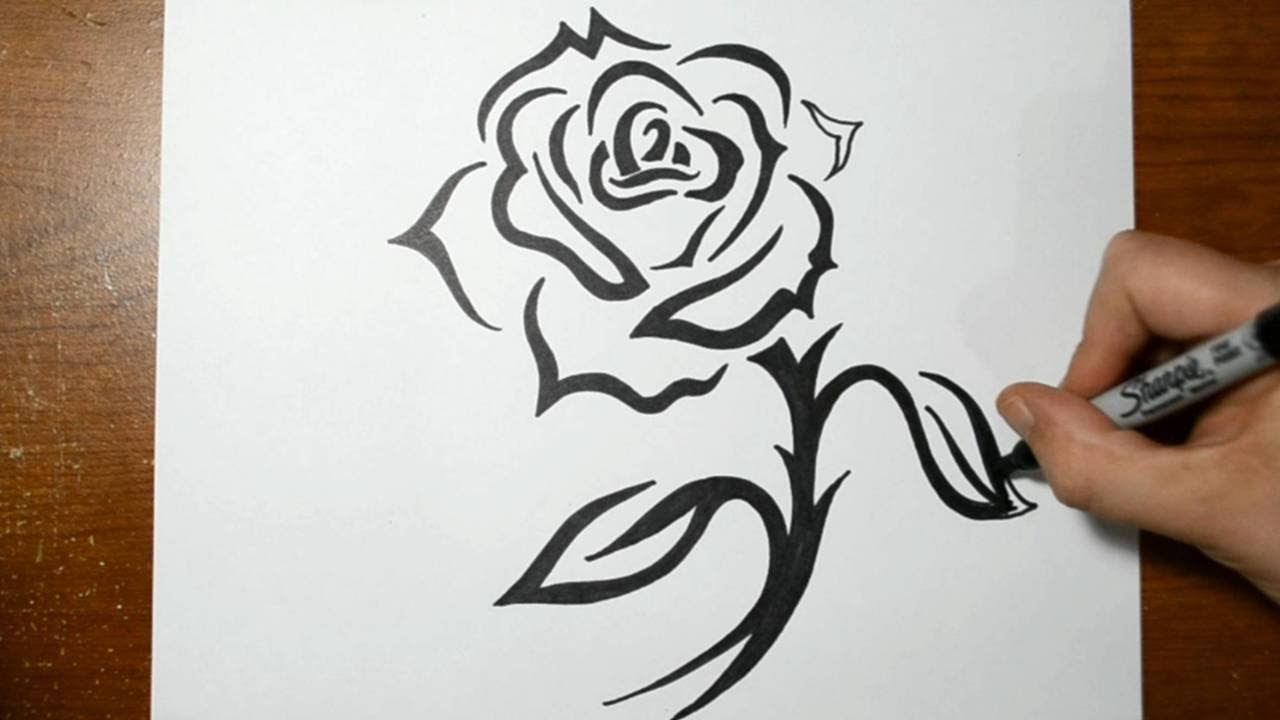 How To Draw A Tribal Rose With A Stem Design Youtube