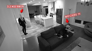 CAUGHT SLENDERMAN ON OUR SECURITY CAMERAS AT 3 AM!! *HE TELEPORTED TO US*