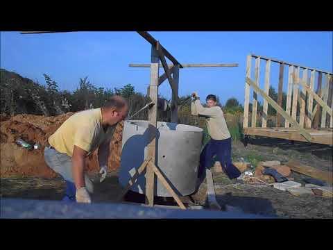установка бетонных колец в колодец на татарском барабане